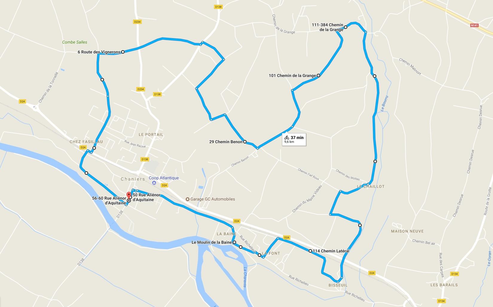 Plan de randonnée à Chaniers (17)