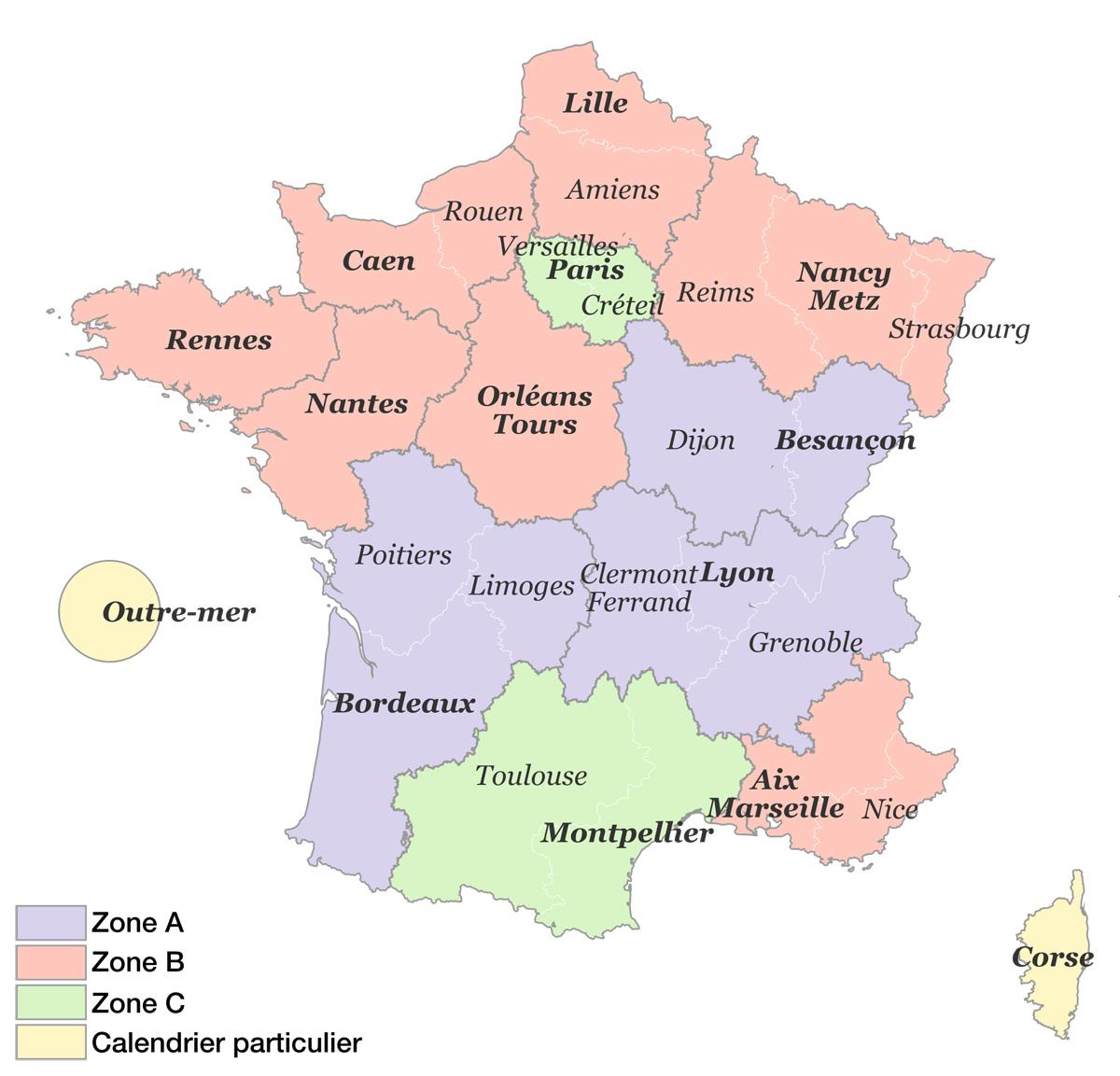 Zones vacances scolaires France