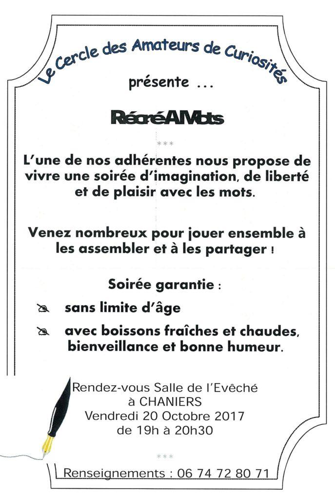 Récré à Mots @ Salle de l'évêché | Chaniers | Nouvelle-Aquitaine | France