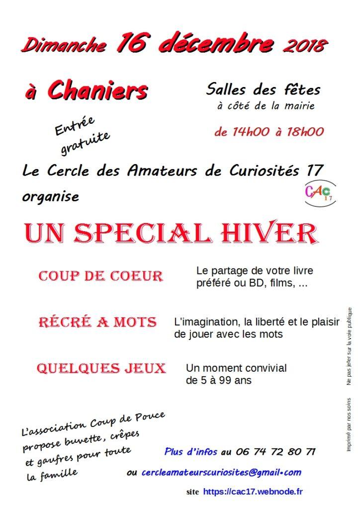 """Le CAC17 organise un """"Spécial Hiver"""" @ Salle des Fêtes"""