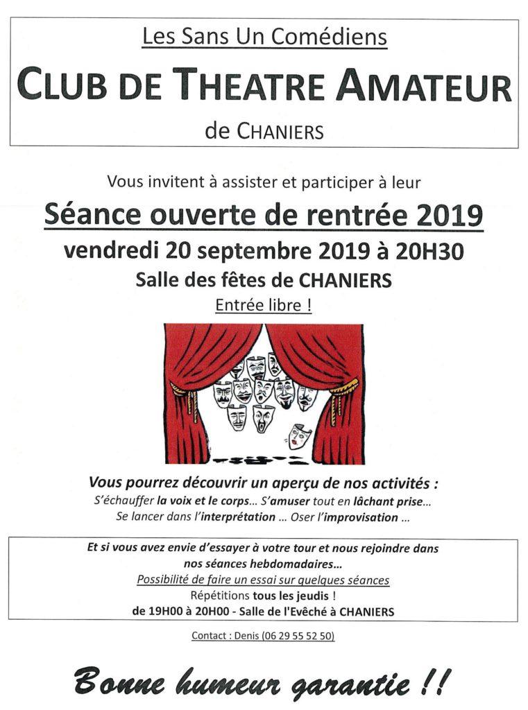 """Séance ouverte """"Les sans Un Comédiens"""" @ Salle des fêtes"""