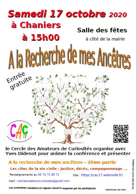 Conférence : A la recherche de mes ancêtres @ Salle des fêtes